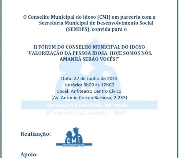 20/06/2013 – Fatep participa do II Fórum do Conselho Municipal do Idoso