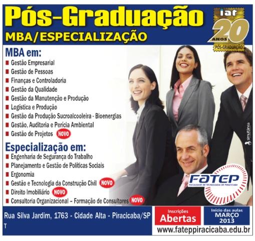 13/12 – Fatep oferece novos cursos de Pós-Graduação em 2013