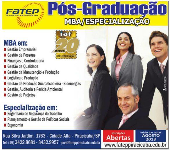 09/08/2013 – Fatep recebe inscrições para cursos de pós-graduação e especializações