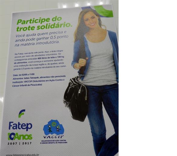 VOLTA ÀS AULAS – Diretor da Fatep incentiva o trote solidário